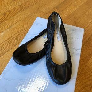 Vera Wang Lavender Leather Black Ballet Flats 5.5M